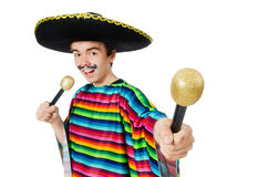 Funny young mexican sings isolated on white Royalty Free Stock Images