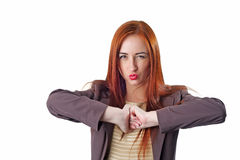 Funny young redhead business woman portrait Stock Photography