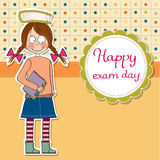 Funny young student girl before exam Royalty Free Stock Images