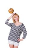Funny young woman holding old globe on her head Royalty Free Stock Photo