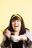 Funny woman portrait real people high definition yellow backgrou Stock Image