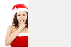 Funny young woman making a gesture with a white board Royalty Free Stock Photography