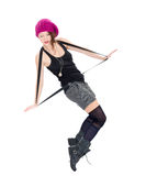 Funny young woman in military boots and pink hat. On white background Stock Photo