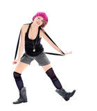Funny young woman in military boots and pink hat. On white background Royalty Free Stock Photography