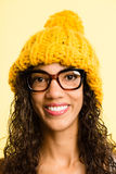 Happy woman portrait real people high definition yellow backgrou Royalty Free Stock Photo