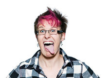 Funny young woman sticking out tongue Stock Photography