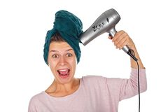Woman before hair drying Royalty Free Stock Photography