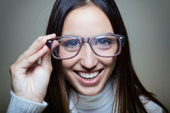 Funny young  woman wear glasses Stock Photography