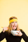 Funny woman portrait real people high definition yellow backgrou Stock Images