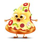 Funny yummy pizza slice character. With mushroom and tomato Stock Photo