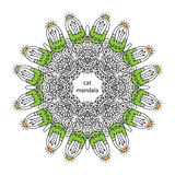 Funny zentangle cat  mandala - coloring book page for adults Stock Photo