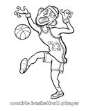 Funny Zombie Basketball Player Coloring Page Stock Photo
