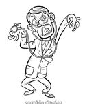 Funny Zombie Doctor Coloring Page Stock Images