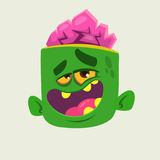 Funny Zombie Head Cartoon Character. Halloween vector illustration. Stock Photography