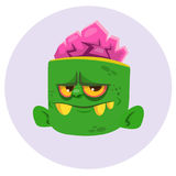 Funny Zombie Head Cartoon Character. Halloween vector illustration. Royalty Free Stock Images