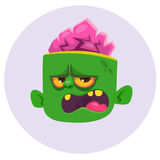 Funny Zombie Head Cartoon Character. Halloween vector illustration. Stock Images
