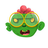 Funny Zombie Head Cartoon Character. Halloween vector illustration. Royalty Free Stock Image
