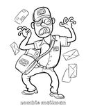 Funny Zombie Mailman Coloring Page. Black and white isolated line vector illustration for coloring page or whiteboard presentation drawing or animation Royalty Free Stock Photography