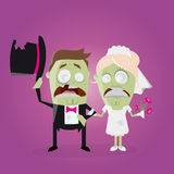 Funny zombie wedding couple. Illustration of a funny zombie wedding couple Stock Photography