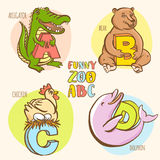 Funny zoo animals kid's alphabet. Hand drawn ink colorful style Royalty Free Stock Image