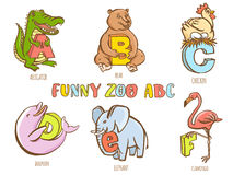 Funny zoo animals kid's alphabet. Hand drawn ink colorful style. Royalty Free Stock Photos