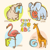 Funny zoo animals kid's alphabet. Hand drawn ink colorful style. Royalty Free Stock Photo