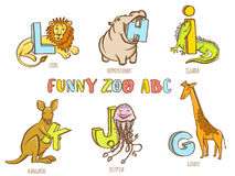 Funny zoo animals kid's alphabet. Hand drawn ink colorful style Royalty Free Stock Photo