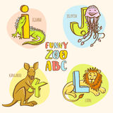 Funny zoo animals kid's alphabet. Hand drawn ink colorful style. Royalty Free Stock Images