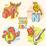 Funny zoo animals kid's alphabet. Hand drawn ink colorful style. Stock Photo