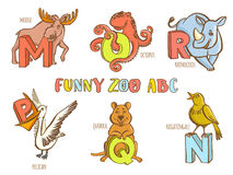 Funny zoo animals kid's alphabet. Hand drawn ink colorful style. Stock Photography