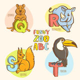 Funny zoo animals kid's alphabet. Hand drawn ink colorful style. Vector illustration Funny zoo animals kid's alphabet. Hand drawn ink colorful style. Letter Q Royalty Free Illustration