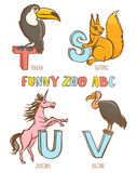 Funny zoo animals kid's alphabet. Hand drawn ink colorful style Stock Photos