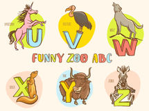 Funny zoo animals kid's alphabet. Hand drawn ink colorful style. Vector illustration Funny zoo animals kid's alphabet. Hand drawn ink colorful style. Letter U Stock Illustration