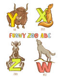 Funny zoo animals kid's alphabet. Hand drawn ink colorful style. Royalty Free Stock Image