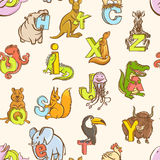 Funny zoo animals kid's alphabet seamless pattern. Hand drawn in. Vector illustration  Funny zoo animals kid's alphabet seamless pattern. Hand drawn ink colorful Royalty Free Stock Photo