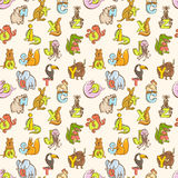 Funny zoo animals kid's alphabet seamless pattern. Hand drawn in Royalty Free Stock Image