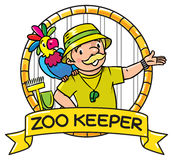 Funny zoo keeper with parrot. Emblem Royalty Free Stock Images