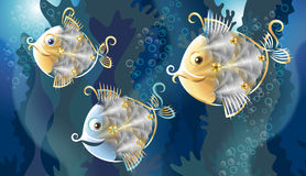 Funnyfish. Grotesque stylized fishes among the coral reefs vector illustration