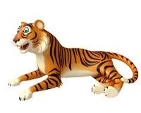 Funsitting Tiger cartoon character Royalty Free Stock Photography