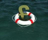 funta angielski złocisty lifebuoy znak Obrazy Stock