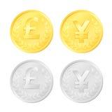 Funta i jenu monety ilustracji