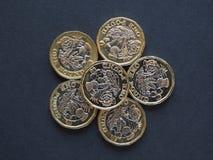 1 funtowa moneta, Zjednoczone Królestwo Zdjęcia Royalty Free