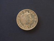 1 funtowa moneta, Zjednoczone Królestwo w Londyn Zdjęcie Stock
