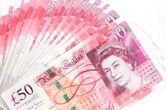 50 funtowego szterlinga banknotów Zdjęcia Stock