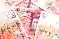 50 funtowego szterlinga banknotów Fotografia Stock