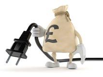 Funtowy pieniądze torby charakter trzyma elektrycznego kabel ilustracja wektor