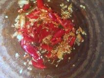 Funtowy przygotowanie Smażąca chili czosnku wieprzowina Obraz Royalty Free