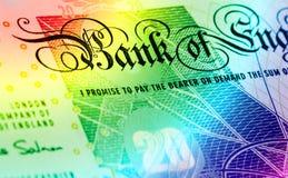 Funtowy waluty tło tęcza - 20 funtów - Fotografia Royalty Free