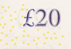 Funtowy waluty tło - 20 funtów Zdjęcie Stock