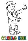 Funy农夫或花匠用苹果 书五颜六色的彩图例证 皇族释放例证